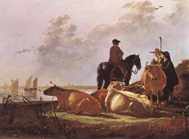 Альберт Кейп. Крестьяне с четырьмя коровами у реки