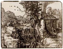Хендрик Гольциус. Пейзаж с водопадом