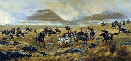 Alexey Danilovich Kivshenko. Nizhny Novgorod Dragoons pursuing the Turks on the road to Kars during the battle Elaginskogo 3 Oct 1877