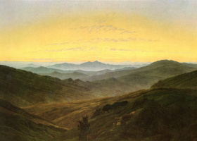 Caspar David Friedrich. Mountain landscape in the Bohemian style