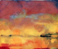 Эмиль Нольде. Желтое море с небольшими корабликами
