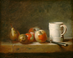 Jean Baptiste Simeon Chardin. Still life with fruit and white pitcher