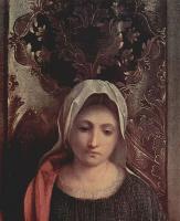 Джорджоне. Алтарь Кастельфранко, сцена: Мадонна на троне со св. Либералисом Тревизским и св. Франциском, деталь: Мария