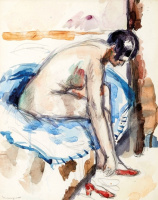 Henri Manguin. Nude wearing red shoes
