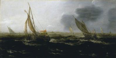 Ян Порселлис. Голландские суда при сильном ветре