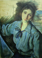 Зинаида Евгеньевна Серебрякова. Автопортрет за работой (Автопортрет с синим бантом)