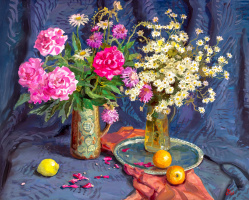 Still life with oranges and lemons. 2008 Mixed media