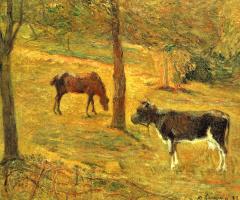 Поль Гоген. Лошадь и корова на лугу