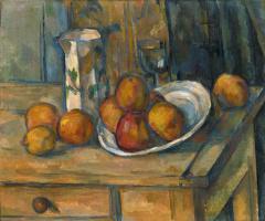 Paul Cezanne. Nature morte, pot à lait et fruits
