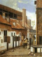 Якобус Врел. Уличная сцена с двумя уходящими фигурами
