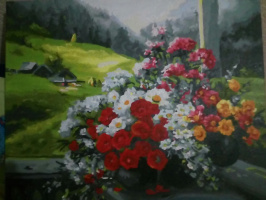 Vasilina Antonovna Chubenko. Bouquet on the veranda