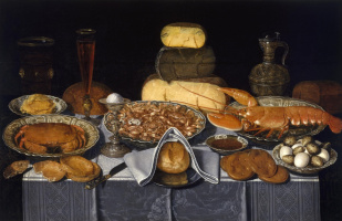 Clara Peeters. Still life with crab, shrimps and lobster