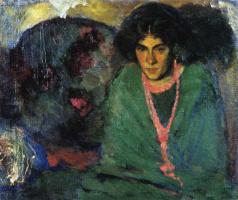 Борис Израилевич Анисфельд. Дама в зеленом. 1910-е.