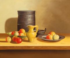 Савелий Камский. Натюрморт с яблоками и желтым кувшином