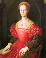 Аньоло Бронзино. Портрет женщины в красном платье