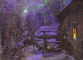 Konstantin Korovin. Moonlit night. Winter