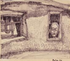 Оскар Яковлевич Рабин. Автопортрет в окне барака