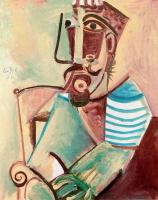 Пабло Пикассо. Мужчина в полосатой кофте