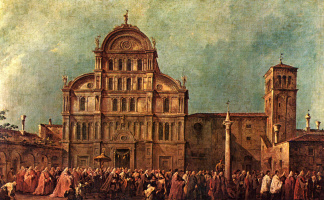 "Francesco Guardi. The cycle of paintings ""Festival of Venice"". Easter procession of the Doge through the square in front of San Zaccaria in Venice"