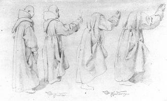 Карл Шпицвег. Эскиз фигуры монаха