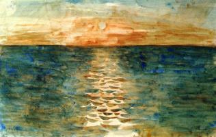 Eugene Delacroix. Sunset on the sea