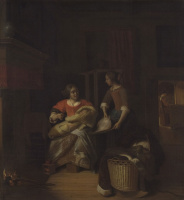 Питер де Хох. Женщина с младенцем и служанка