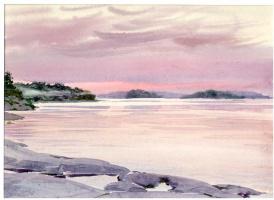 Sergey Alekseevich Makarov. Sunset on lake Ladoga