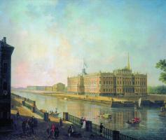 Федор Яковлевич Алексеев. Вид на Михайловский замок в Петербурге со стороны Фонтанки. Около 1800