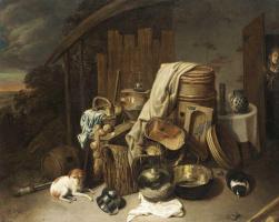 Давид Рейкарт. Сельский интерьер с кухонной утварью и домашними животными
