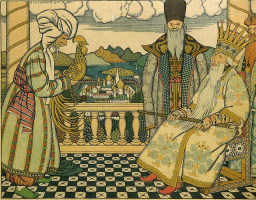 """Ivan Yakovlevich Bilibin. Stargazer in front of Dadon. Illustration to """"The Tale of the Golden Cockerel"""" by A. S. Pushkin"""