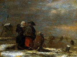 Ян Минсе Моленар. Зимний пейзаж с ветряной мельницей