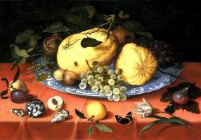 Балтазар ван дер Аст. Блюдо с фруктами и раковины на столе