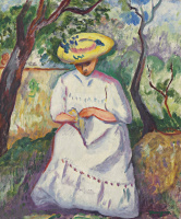 Henri Manguin. Cousin Jeanne sewing, Villa Demie