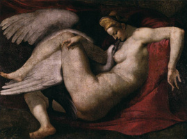 "Michelangelo Buonarroti. A copy of the destroyed painting ""Leda and the Swan"""
