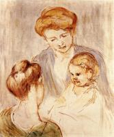Мэри Кассат. Младенец, улыбающийся двум молодым женщинам