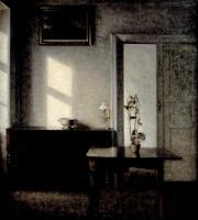Вильгельм Хаммерсхёй. Интерьер с цветочным горшком на карточном столе. Бридгед, 25