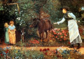 Эдвард Киллингворт Джонсон. Кормление пони в саду Суррея