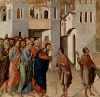 Дуччо ди Буонинсенья. Маэста, алтарь сиенского кафедрального собора, оборотная сторона, пределла со сценами Искушения Христа и Чудесами, Исцеление