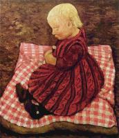 Паула Модерзон-Беккер. Крестьянский ребенок на клетчатой подушке