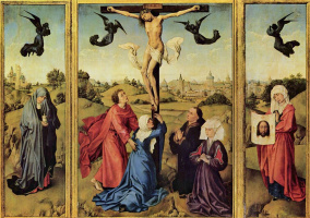 Рогир ван дер Вейден. Распятие, триптих, левая створка: св. Мария Магдалина с сосудом, правая створка: св. Вероника с нерукотворным ликом