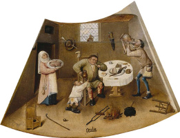 Hieronymus Bosch. Gluttony. The seven deadly sins and the Four last things. Fragment
