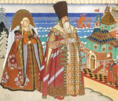 """Ivan Yakovlevich Bilibin. Tsar Saltan and Babarikh. Illustration to """"The Tale of Tsar Saltan"""" by A. S. Pushkin"""