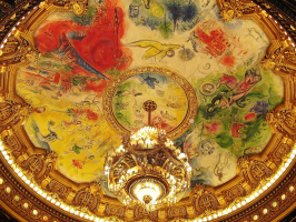 The painted ceiling of the ceiling of the Paris Opera