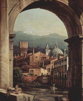 Giovanni Antonio Canal (Canaletto). Roman Capriccio, a city gate and a watchtower, a fragment