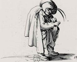 Жак Калло. Карлик, играющий на рыле