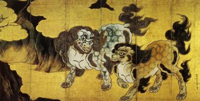Kano Eytoku. Chinese lions