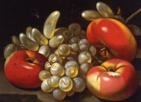 Лука ни один Forte. Натюрморт с яблоками, виноградом и Стрекоза