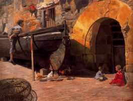 Сальвадор Диас Игнасио Руис де Олано. Лодки и дети на улице Мотрико