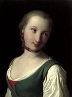 Пьетро Ротари. Портрет женщины с зеленым жилетом, белой блузкой и красным колье