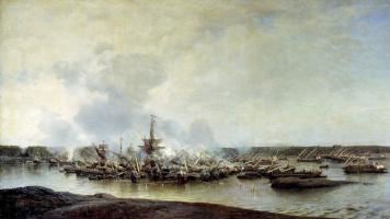 Алексей Петрович Боголюбов. Сражение при Гангуте 27 июля 1714 года